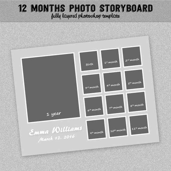 12 Months Timeline Photoboard Template Baby First Year