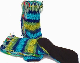 """Hippie Shoes Boho Slipper Socks 15"""" Tall With Non Skid Bottoms In A Funky Bohemian Clothing Style Handmade Socks For Fairies Gypsies & More"""
