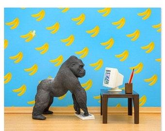 35% OFF SALE Gorilla animal art print: Gorilla Art