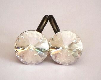 Swarovski crystal 14mm rivoli fancy stone leverback drop earrings crystal moonlight,antique brass plated
