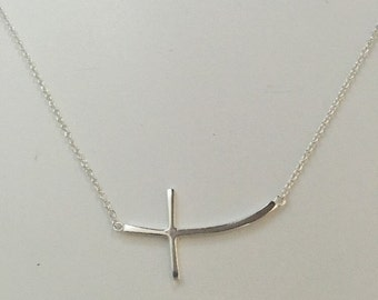 Cross Necklace, Curved Cross Necklace, Sterling Silver Curved Cross Necklace, 925 Silver sterling sideway horizontal curved cross necklace
