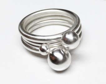 Silver stacking rings, silver orb rings, globe rings, bauble rings, silver ball rings, sphere rings