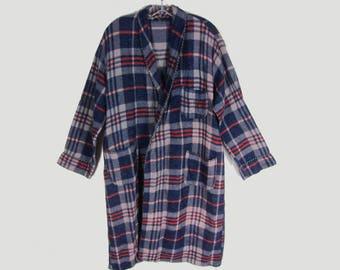 Vintage Beacon Bathrobe L Blue Plaid Robe NO BELT