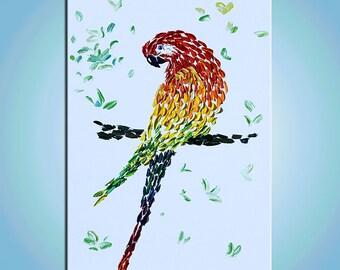 ORIGINAL Painting pointillism Modern contemporary art painting texture canvas home decor palette knife marchella abstract impasto 3d parrot