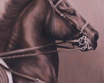 horse art, equine art, 3 phase, eventing, cross-country, galloping horse, animal art, bay horse, farm art, livestock art, stallion