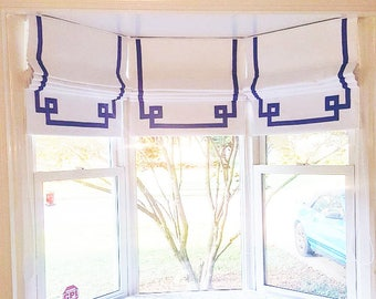 "Flat Roman Shade ""Greek Key"", White Linen with Purple Ribbon, with chain mechanism, custom roman shade"