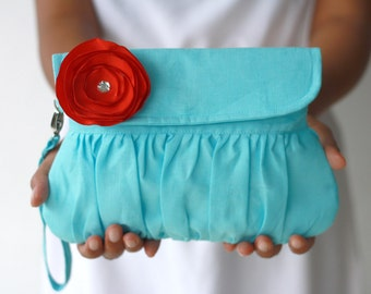 Aqua Red Purse Linen Clutch with red sateen flower - bridesmaid gift - wedding clutch