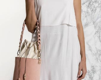 Bucket Bag, Nude Leather Tote, Shoulder Bag, Roxanne design, Available in 3 colors