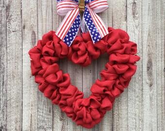 Patriotic Wreath, Memorial Day Wreath, Patriotic Burlap Wreath, Red White and Blue Wreath, 4th of July Wreath, American Flag Wreath