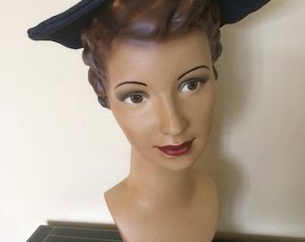 Original vintage 1940's navy blue fine rafia large brimmed hat
