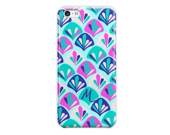 Preppy iPhone 6s Plus case, Turquoise blue pink seashells, Fashion accessory, For 4/4s 5/5s 6/6s 7 8 5c SE and Plus (1783)