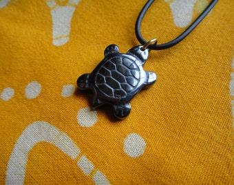 Carved Turtle Hematite Pendant  Necklace Tribal Mens Honu