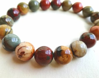 Dragon's blood jasper stretchy bracelet