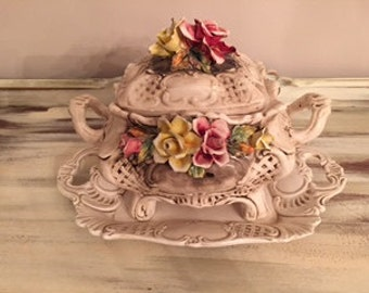 Vintage Capodimonte Covered Dish with Tray