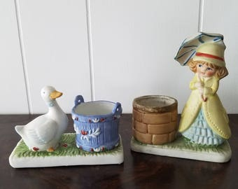 Little Luvkins Girl With Umbrella 1978 & Duck 1987 Candle Holders Made in Tiwan, Hand Painted Porcelain
