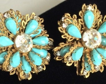 Beautiful Vintage Miriam Haskell Earrings~Turquoise Blue Stones/ Clear Rhinestones/ Gold Tone~Signed