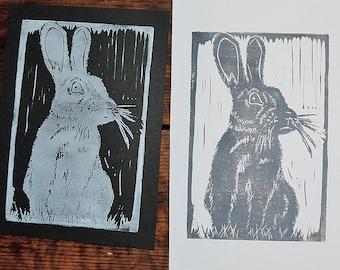 4x6 hand carved linoprint rabbit