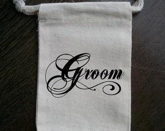 Groom Bridal Party Muslin Gift Bag