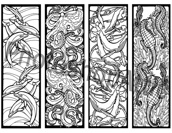 Mosaic Ocean Life Bookmarks coloring