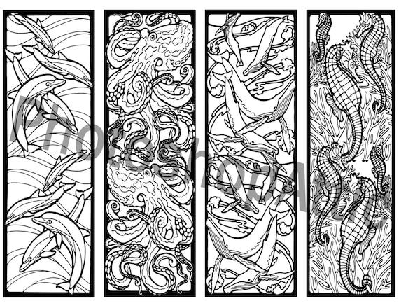 Mosaic Coloring Pages Pdf : Mosaic ocean life bookmarks coloring printable page sheet pdf