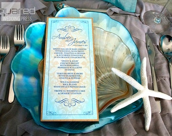 Beach Wedding Menu Cards - DEPOSIT - Destination Wedding Reception - Reception Menus, Custom Design Wedding Reception Decor Event Menu