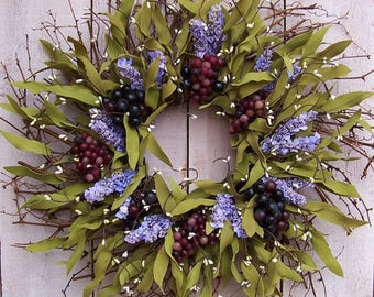 Wine Wreath-Spring Front Door Wreath-Wine-Wine Lovers Wreath-Wine Home Decor-Fruit Wreath-Grapes-Lavender Wreath-Grapes Wreath Decor-Wreaths