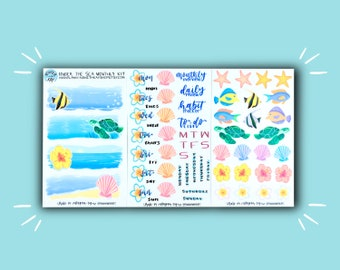 Under the Sea Monthly Kit | Planner Stickers | Bullet Journal Stickers | Stickers for Planners, Journals, and More | Journaling Supplies