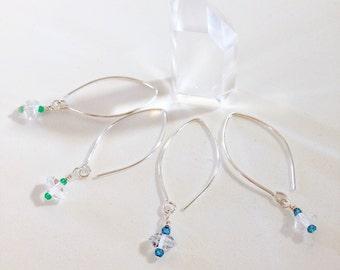 Herkimer Diamond Earrings | Sterling Silver | London Blue Quartz Earrings | Green Onyx Earrings