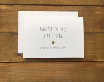 Twinkle Twinkle Little Star Themed Thank You Cards, Gender Neutral Baby Shower Cards, Sparkly Hand finished Cards, Set of 10 Cards