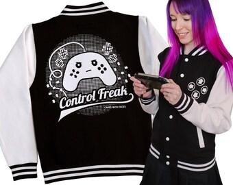 "Varsity Jacket: ""Control Freak"" - Gifts for Gamers - Gaming - Video Games - Black & White Sweater Top - Ladies / Mens College Jacket"