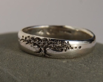Tree of Life Band sterling 5 mm WIDE ring size 4 to 8 wedding band tree design woman's man's