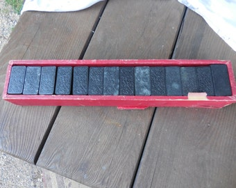 Vintage Black Wooden Dominoes in Box 56 Pieces Decorative 1940s to 1950s Game