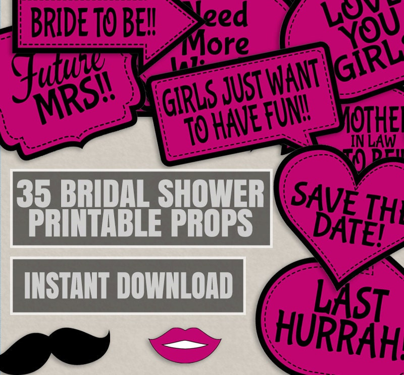 35 pink bridal shower printable photo props bridal photobooth zoom solutioingenieria Image collections