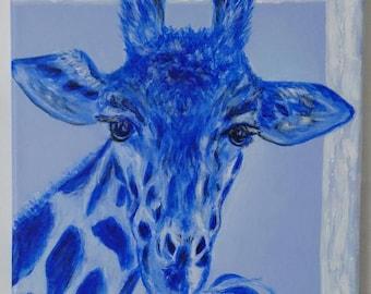 Blue giraffe acrylic painting on canvas