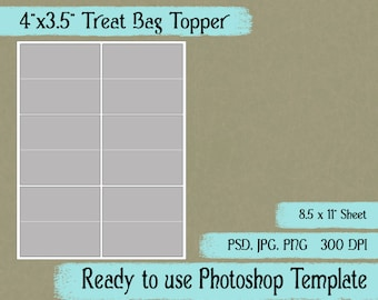 "Treat Bag Toppers - Digital Layered Collage Sheet Template:  4"" x 3.5"""