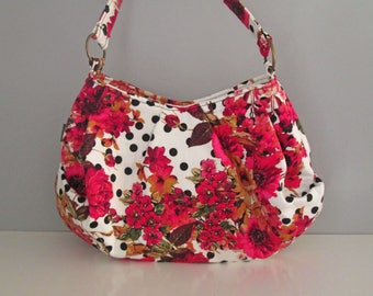 Large Shoulder Bag, Pleated Purse, Hobo Handbag, Floral Shoulder Bag, Pink Handbag, Fabric Shoulder Bag