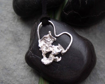 Sterling silver Water Cast Heart Pendant / necklace