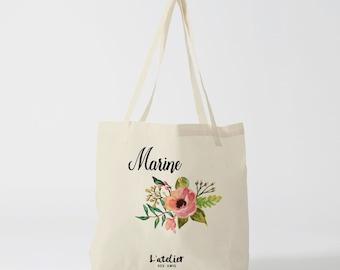 W20Y Tote bag wedding customizable flowers, cotton bag, bridesmaid, bag canvas, bag offer, tote bag wedding, shopping bag