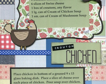 Crouton Chicken, 1 Page 8 1/2 x 11 Recipe Scrapbook Layout, Premade Scrapbook Recipe, Ready to Assemble Recipe Layout