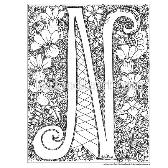 Instant Digital Download Adult Coloring Page Letter N