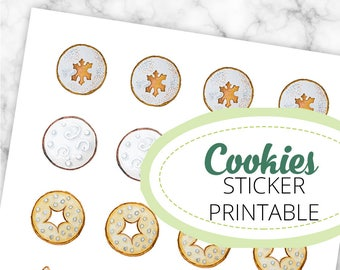 Christmas Biscuits Watercolor Illustrations Stickerbogen, 3cm diameter, printable, digital download, Christmas, biscuits, cameo silhouette,