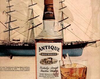 1960s Antique Kentucky Bourbon vintage magazine Ad wall decor. (LG)