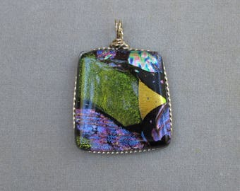 Blue and Green Dichroic Glass Pendant in White Gold-Filled Wire