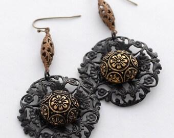Black Filigree Earrings, Bohemian Czech Glass Earrings, Gypsy Style Boho Earrings, Black and Gold Earrings, Floral Earrings Great Gift Idea
