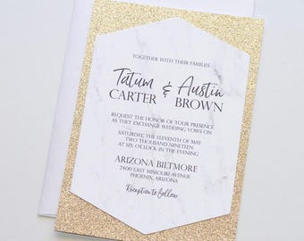 White Marble Glitter Wedding Invitation - Hexagon Invitation - Gold Glitter Invite - Elegant Modern Invitation - Tatum Sample