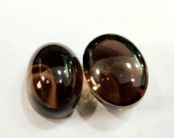 26Ct 100% Natural Loose Gemstone Smokey Quartz Cabochon Oval 12x16x9 MM