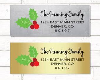 Gold or Silver Foil Return address label - custom- 2 5/8 x 1 inch rectangular, gold foil label, sticker, wedding announcements - SET OF 30