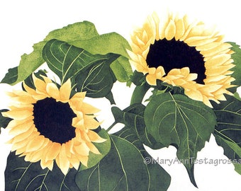 Sunflower Print, Flower Print, Floral Print, Giclee Print, Fine Art Print