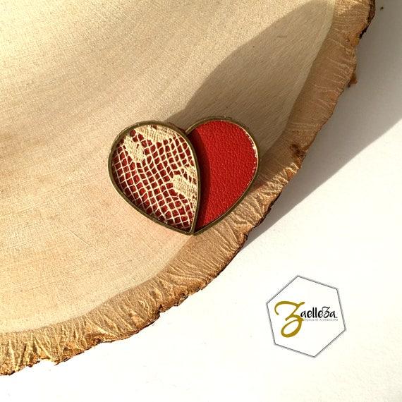 """Broche vêtement Coeur cuir dentelle métal  - modèle MON COEUR - Coll. """"Mon Coeur Mon Amour"""" Zaelleza"""
