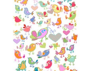baby girl nursery wall art nursery decor bird art bird decor baby girl art childrens art nursery art bird print abstract art baby room decor